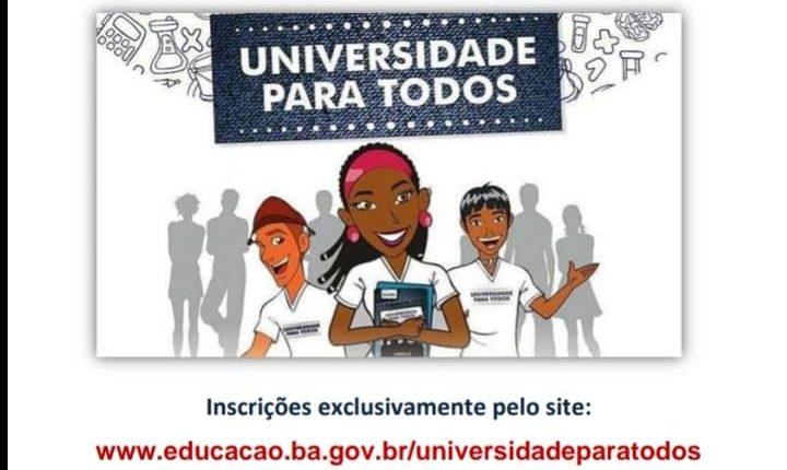 Inscrições abertas para cursinho Pré-Vestibular da Universidade para Todos