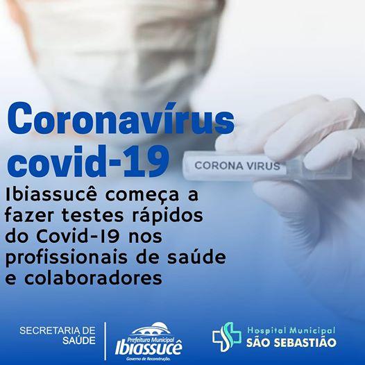 Ibiassucê começa a fazer testes rápidos  do COVID-19 nos profissionais de saúde e colaboradores